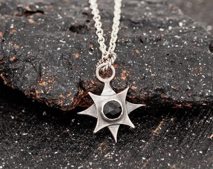 Sterling SilverBlack Gemstone Necklace|Polaris Necklace|North Star Necklace|Pole Star Necklace|Celestial Necklace|Star Necklace|Gift for Her