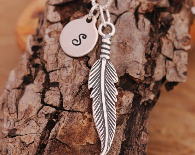 Sterling Silver Angel Feather Necklace|Silver Angel Feather Necklace|Angel Feather Necklace|Feather Necklace|Initial Necklace|Gift for Her