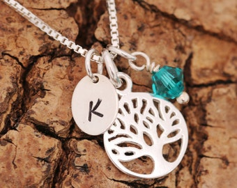 Sterling Silver Tree of Life Necklace, Silver Tree Necklace, Personalised, Birthstone Necklace, Initial Necklace, Gift for Her