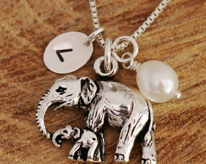Handmade and Bespoke Personalised Sterling Silver Mother and Baby Elephants + White Freshwater Pearl Necklace, Mother's Day Gift, with Box