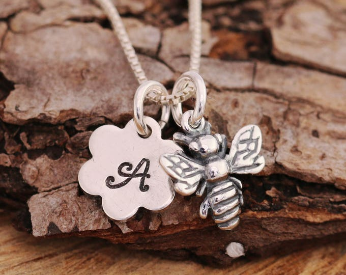 Sterling Silver Bee Necklace|Sterling Silver Flower Necklace|Silver Bee Necklace|Honey Bee Necklace|Flower Girl Necklace|Initial Necklace