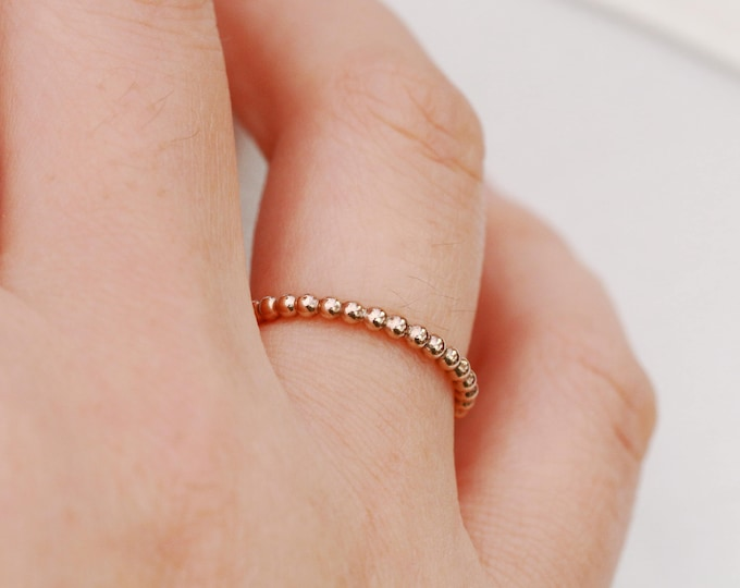 Solid 9ct Gold Bubble Ring|1.5mm Gold Bubble Ring|Gold Beaded Ring|Gold Ball Ring|Gold Stacking Ring|Gift for Her|Gift for Daughter