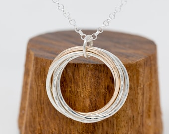 Solid 9ct Gold&Sterling Silver Circles Necklace|5 Circles Necklace|50th Birthday Gift|Boho Necklace|Gift for her|Gift for Mother