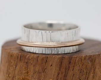Sterling Silver & 14K Gold Filled Spinner Ring|Silver Spinner Ring|Textured Spinner Ring|Anxiety Ring|Fidget Ring|Meditation Ring|Worry Ring