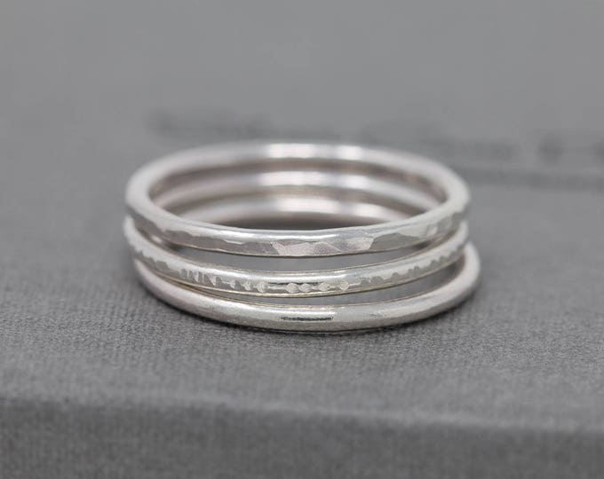 Sterling Silver Ring Set|Handmade Ring Set|Minimalist Ring Set|Sterling Silver Minimalist Ring Set|Stacking Rings|Minimalist|Gift for Her