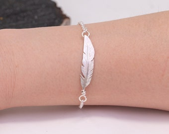 Sterling Silver Angel Feather Bracelet, Handmade Feather Charm Bracelet, Hand Forged Feather Jewelry, Simple Bracelet, Gift for Her