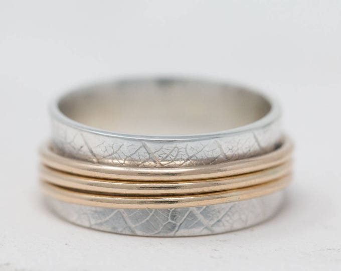 Sterling Silver Spinner Ring|Leaf Skeleton Patterned Spinner Ring|Sterling Silver&Gold Filled Spinner Ring|Worry Ring|Meditation Ring