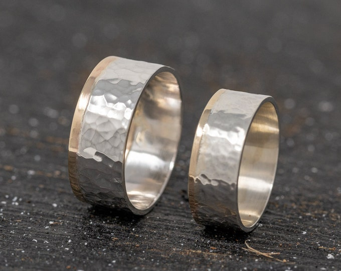 Sterling Silver&9ct Gold Wedding Band Set|Mixed Metal Ring Bands|Wedding Ring Set|Minimalist Ring Set|Wedding Band Set|Couples Ring Set