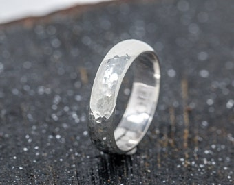 Sterling Silver Textured Mens Wedding Band Sterling Silver Dimpled Wedding Band Sterling Silver Mens Ring Unisex Ring Silver Thumb Ring