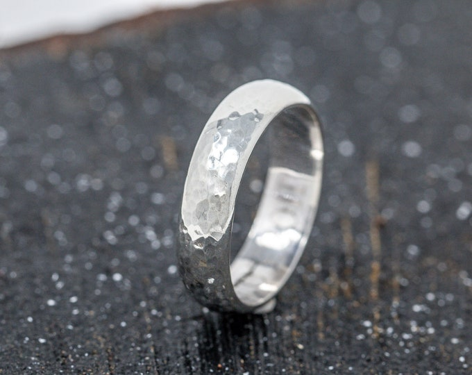 Sterling Silver Textured Mens Wedding Band|Sterling Silver Dimpled Wedding Band|Sterling Silver Mens Ring|Unisex Ring|Silver Thumb Ring