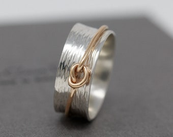 Sterling Silver Spinner Ring with Gold Filled Knot Fidget|Mixed Metal Spinner Ring|Worry Ring|Anxiety Ring|Meditation Ring|Gift for Her