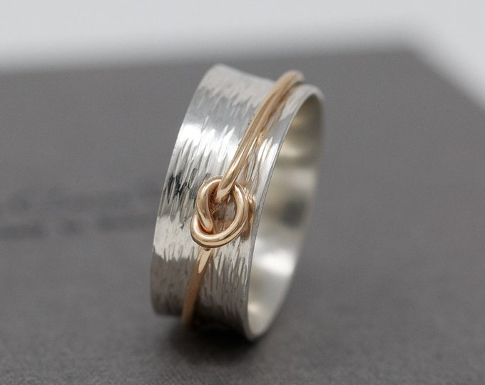 Sterling Silver Spinner Ring with 9ct Gold Knot Fidget|Mixed Metal Spinner Ring|Worry Ring|Anxiety Ring|Meditation Ring|Gift for Her