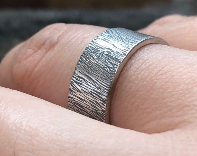 Solid Sterling Silver hand carved band, tree bark ring, sterling silver rustic ring, Handmade hand textured ring, mens ring, unisex ring