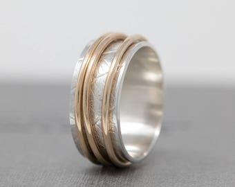 Sterling Silver Spinner Ring w 3 Solid 9ct Gold Fidgets|Gold Fidget Ring|Leaf Skeleton Patterned Spinner Ring|Worry Ring|Meditation Ring