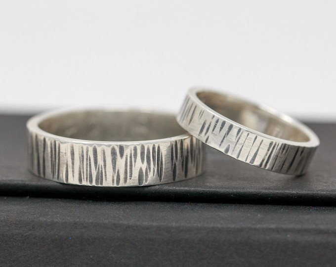 Sterling Silver Wedding Ring Set, Engraved Inside|Textured Sterling Silver Wedding Band Set|Wedding Rings|Sterling Silver Wedding Band Set