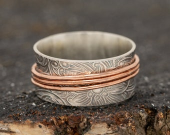 Sterling Silver Spinner Ring|Floral Spinner Ring|Mixed Metal Ring|Silver and Copper Ring|Silver and Gold Ring|Meditation Ring|Gift for Her