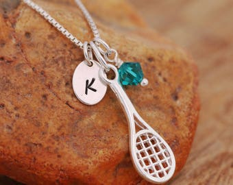 Sterling Silver Personalised Tennis Racket Necklace|Personalised|Birthstone Necklace|Initial Necklace|Tennis Players Necklace|Gift for Her