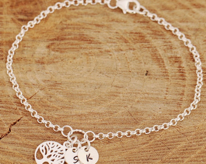Sterling Silver Tree of Life Bracelet|Sterling Silver Initial Bracelet|Silver Tree Bracelet|Tree of Life Bracelet|Mothers Tree Bracelet