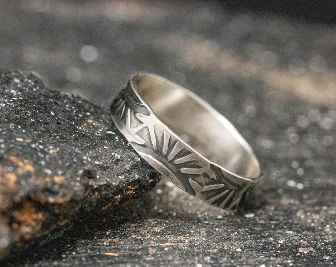 Sterling Silver Navajo Ring, Hand Stamped Ring Band, Handmade Ring, Unisex Ring, Rustic Ring, Stamped Ring, Mens Ring, Thumb Ring, Wide Ring