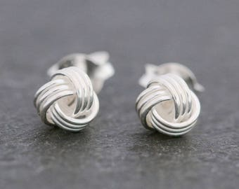a7af17f8a Sterling Silver Knot Studs Earrings|Silver Knot Earrings|Sterling Silver  Ball Earrings|Silver Ball Earrings|Knot Stud Earrings|Gift for Her