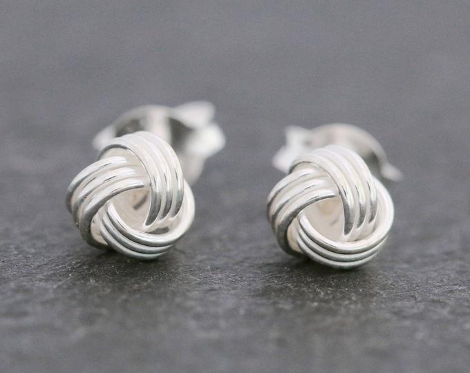 Sterling Silver Knot Studs Earrings|Silver Knot Earrings|Sterling Silver Ball Earrings|Silver Ball Earrings|Knot Stud Earrings|Gift for Her