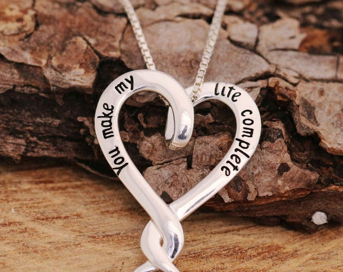 Sterling Silver Intertwined Heart Necklace, Silver Heart Necklace, Silver Text Necklace, Texts on Heart Necklace, Love Necklace,Gift for Her