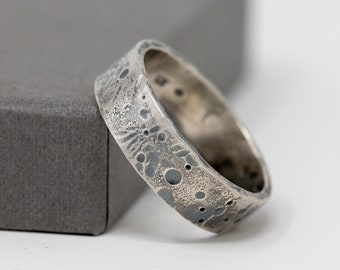 6mm Sterling Silver Celestial Ring, Rustic Ring, Unisex Silver Ring, Celestial Ring, Textured Ring, Mens Ring, Thumb Ring, Gift for Him