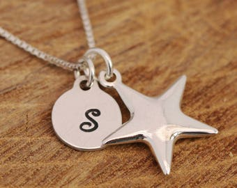 Sterling Silver Wishing Star Necklace, Silver Star Necklace, Wishing Star Necklace, Initial Necklace, Silver Disc Necklace, Gift for Her
