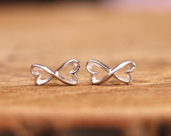Sterling Silver Infinity Knot Stud Earrings, Infinity Heart Earrings, Infinity Heart Stud Earrings, Silver Infinity Earrings, Gift for Her