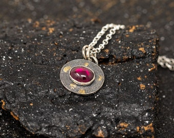 Sterling Silver and 24K Gold Keum Boo Necklace, Garnet Stone Necklace, Red Stone Necklace, January Birthstone Necklace, Gift for Mum