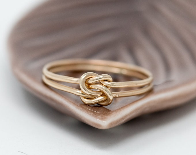 14K Gold Filled Knots Ring|Gold Double Knotted Ring|2 Knots Ring|Knot Ring|Promise Ring|Friendship Ring|Bridesmaids Ring|Gift for Her