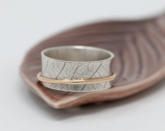 Sterling Silver Leaf Spinner Ring w SOLID 9ct Gold Fidget|Leaf Spinner Ring|Mixed Metal Ring|Worry Ring|Meditation Ring|Gift for Her