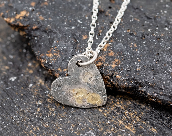 Sterling Silver & Gold Dust Heart of Gold Necklace, Handmade Heart Necklace, Love Heart Necklace, Organic Heart Necklace, Rustic Necklace