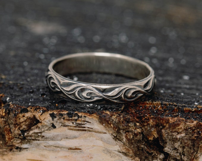 Sterling Silver Patterned Ring,Silver Vine Ring,Oceanic Ring,Unisex Ring,Sterling Silver Handmade Ring,Gift for Him,Gift for Her