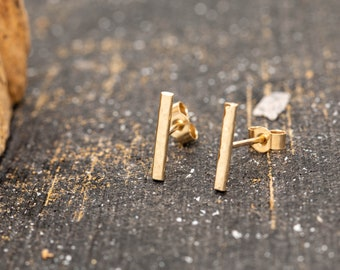 Solid 9ct Gold Hammered Bar Stud Earrings, Minimalist Gold Earrings, Dimple Textured Gold Earrings, Gold Bar Earrings, Gift for Her