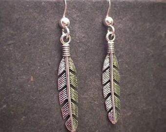 Sterling Silver Angel Feather Earrings Silver Angel Feather Earrings Feather Earrings Dangle Earrings Silver Feather Earrings Gift for Her