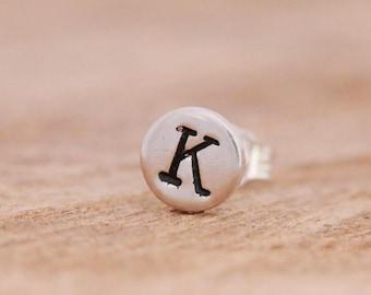 SINGLE Sterling Silver Initial Stud Earring|Letter Stud Earring|Silver Letter Earring|Initial Earring|Silver Initial Earring|Unisex Earring