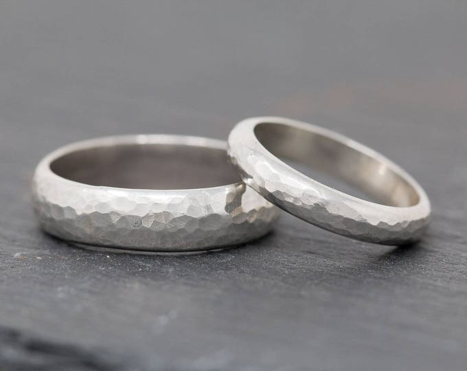 Sterling Silver Wedding Ring Set|Textured Sterling Silver Wedding Band Set|His and Her Wedding Ring Set|Sterling Silver Wedding Band Set