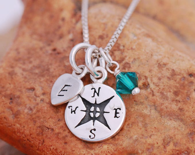 Sterling Silver Compass Necklace, Compass Necklace, Silver Compass Necklace, Birthstone Necklace, Initial Necklace, Gift for Her