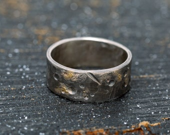 8MM 24K Gold Keum Boo Celestial Ring, Silver&Gold Rustic Ring, Unisex Silver Ring, Textured Ring, Mens Ring, Wedding Band, Gift for Him