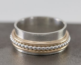 Solid 9ct Gold&Sterling Silver Spinner Ring|Mixed Metal Spinner Ring|3 Fidget Spinner Ring|Anxiety Ring|Meditation Ring|Worry Ring