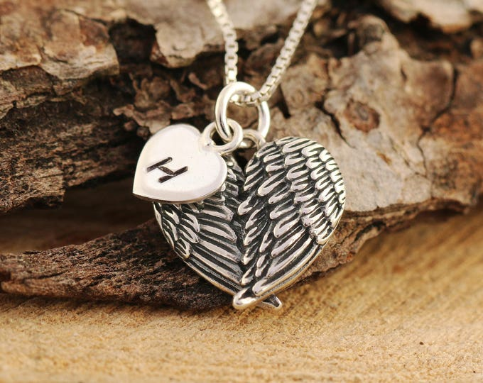 Sterling Silver Angel Wings Necklace|Angel Wings Necklace|Wings Heart Necklace|Initial Necklace|Embraced Wing Necklace|Wings Necklace