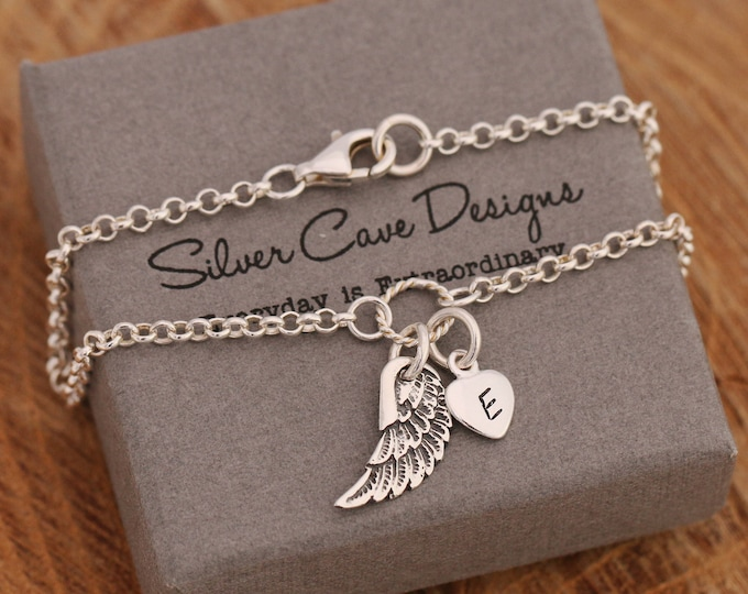 Sterling Silver Angel Wing Bracelet|Silver Angel Wing Bracelet|Wing Bracelet|Angel Wing Bracelet|Initial Bracelet|Gift for Her|Personalised