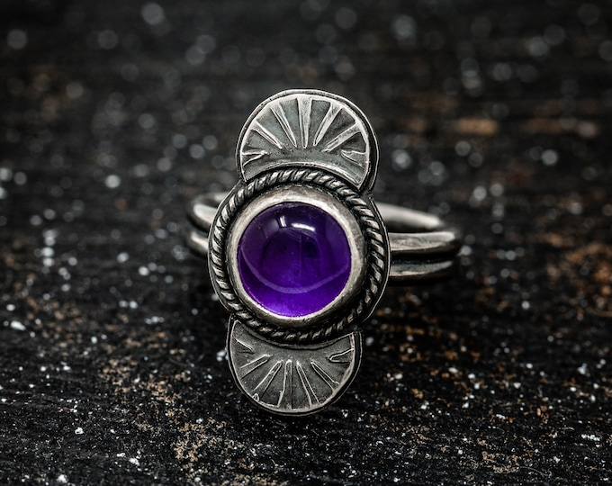 Sterling Silver n Amethyst Ring|Navajo Ring with Amethyst|Amethyst Ring|Navajo Ring|February Birthstone|Gift for Her|Gift for Mother