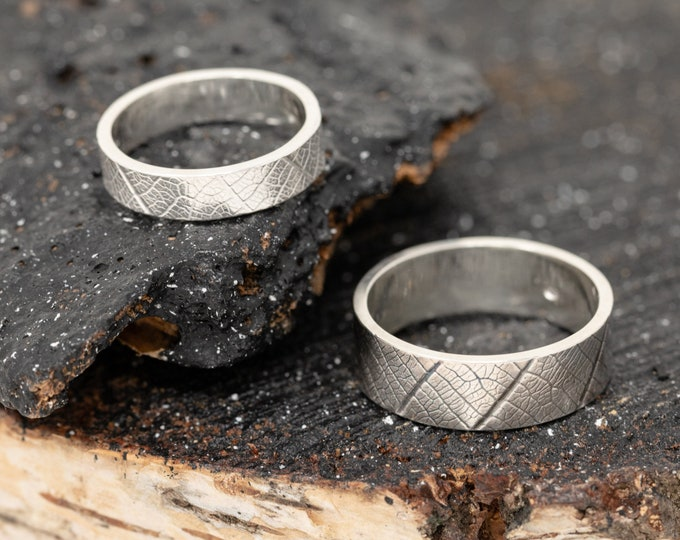 Handmade Sterling Silver Leaf Wedding Rings, Wedding Band Set, Couples Rings, Matching Engagement Rings, Leaves Rings