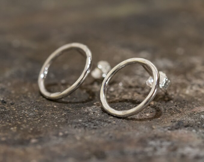 Sterling Silver Circle Earrings Circle Stud Earrings Small Sterling Silver Loop Earrings Handmade Earrings Gift for Her