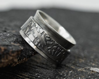 15mm Wide Sterling Silver Spinner Ring, Wide Tree Bark Detailed Spinner Ring, Mens Spinner Ring, Anxiety Ring, Fidget Ring, Meditation Ring