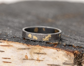 24K Gold&Sterling Silver Rustic Ring Wide 4MM Wide|Mens Rustic Band|Organic Wedding Ring|Unisex Ring|Rustic Ring|Gift for Him|Gift for Her