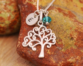 Sterling Silver Tree of Life Necklace|Sterling Silver Tree Necklace|Silver Tree Necklace|Initial Necklace|Birthstone Necklace|Gift for Her