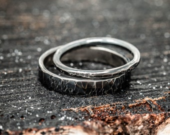 Sterling Silver Wedding Band Set,Rustic Wedding Band,Hammered Wedding Bands,His and Her Rings,Gift for Couples,Handmade Wedding Rings